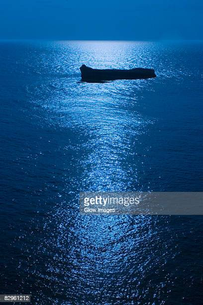 Silhouette of a boat in the sea at night, Biarritz, Basque Country, Pyrenees-Atlantiques, Aquitaine, France