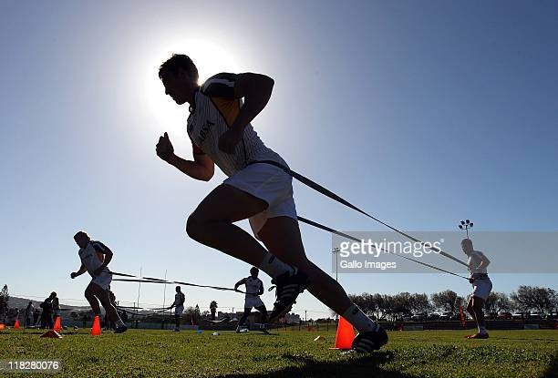 A silhouette of a bok player during day 1 of the South African national rugby team training camp at Florida Park Ravensmead on July 06 2011 in Cape...