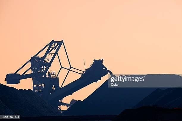 Silhouette of a coal conveyor belt