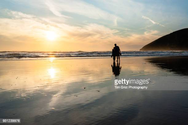 Silhouette of a Couple on a Beach at Sunset