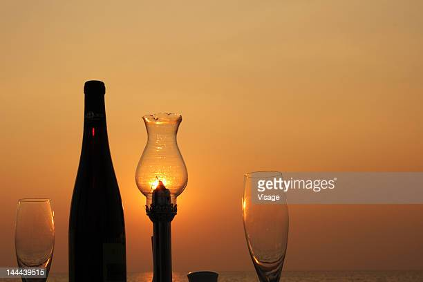 Silhouette of a dining table