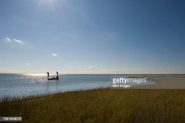 a silhouette of  a fly fisherman and a guide casting for redfish from a flats boat poling skiff in the fresh water marsh south of new orleans, louisiana usa - salt_marsh stock pictures, royalty-free photos & images