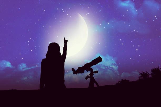 Silhouette A Girl Beside Astronomy - Fine Art prints