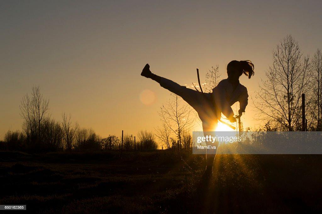 Silhouette of a girl practicing Taekwondo martial art : Stock Photo