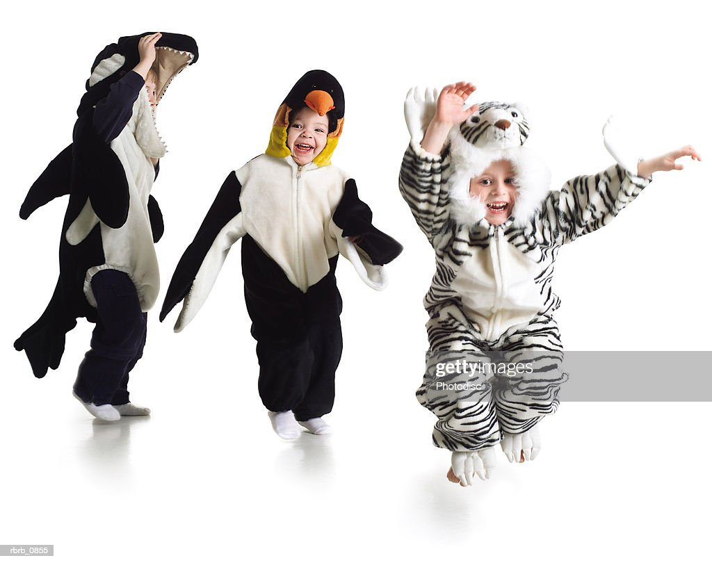 silhouette of a group of young children dressed in funny animal costumes : Stockfoto