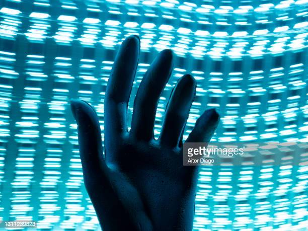 silhouette of a hand. concept of personal data storage. - painted image stock pictures, royalty-free photos & images
