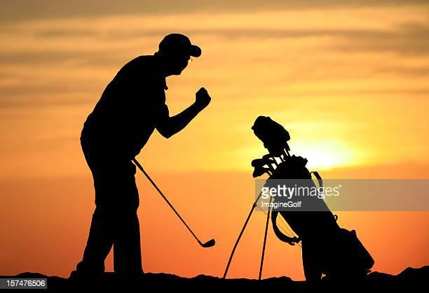 silueta de un hombre feliz celebrando un golfista senior birdie - birdie golf fotografías e imágenes de stock