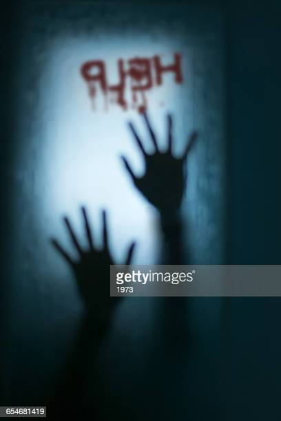 Silhouette of a human hands in shower with help written on glass