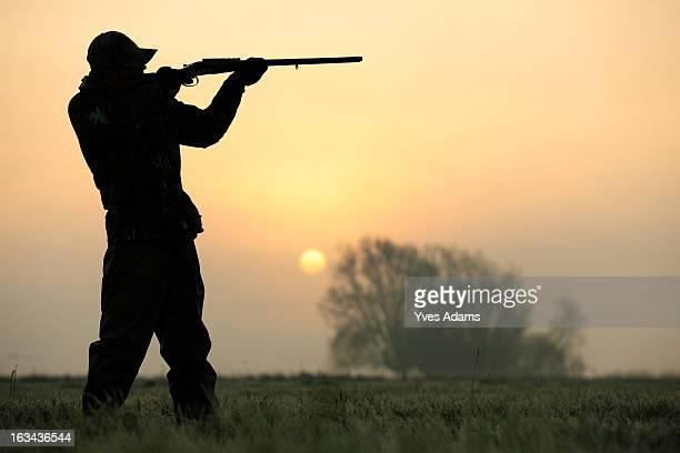 silhouette of a hunter aiming his shotgun - hunting stock pictures, royalty-free photos & images