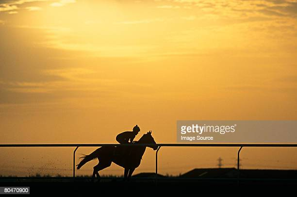 A silhouette of a jockey riding a horse