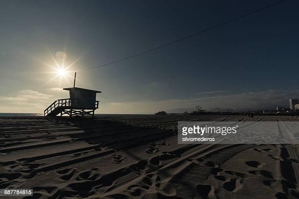 Silhouette of a Lifeguard station, Venice Beach, Los Angeles, California, America, USA
