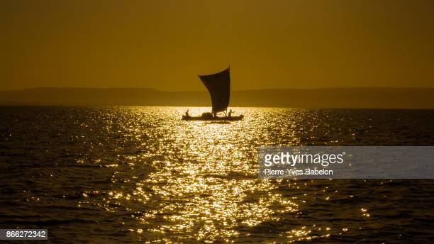 Silhouette of a Malagasy fishing boat