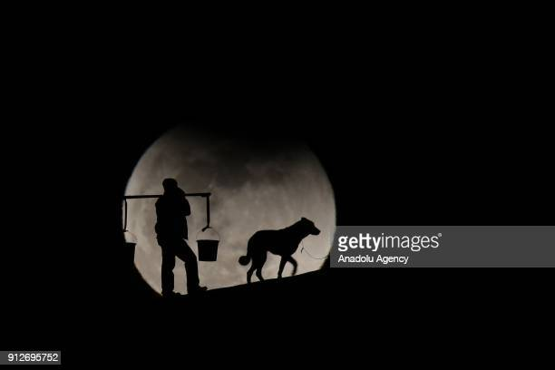 Silhouette of a man carrying baskets using shoulder pole and a dog on leash are seen in front of the 'Super blue blood moon' in Gevas district of Van...