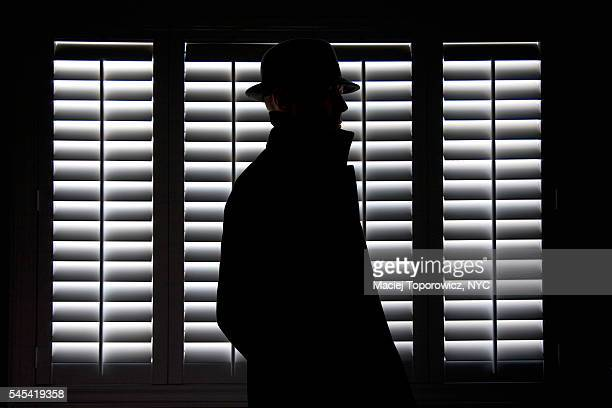 silhouette of a man in hat against screen window. - mafia foto e immagini stock