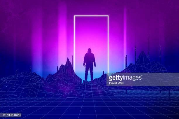 a silhouette of a man standing, back to camera. with a glowing neon doorway. with a synthwave, 80s edit. - lighting equipment stock pictures, royalty-free photos & images