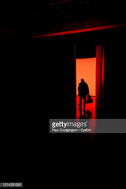 silhouette of a man walking in building - travel destinations stock pictures, royalty-free photos & images