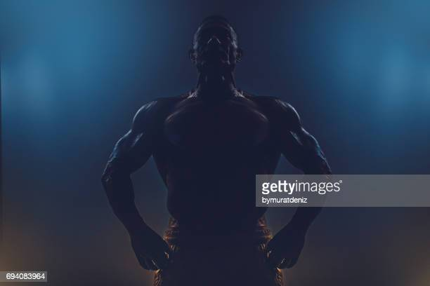 silhouette of a muscular man - black male bodybuilders stock photos and pictures
