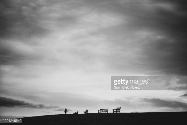 silhouette of a person standing on land against sky - one man only stock pictures, royalty-free photos & images