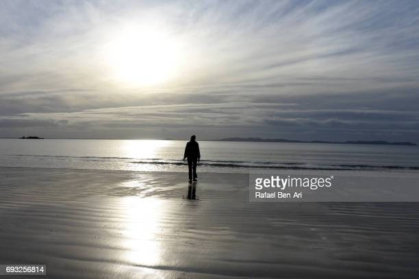 Silhouette of a person walking on a beach