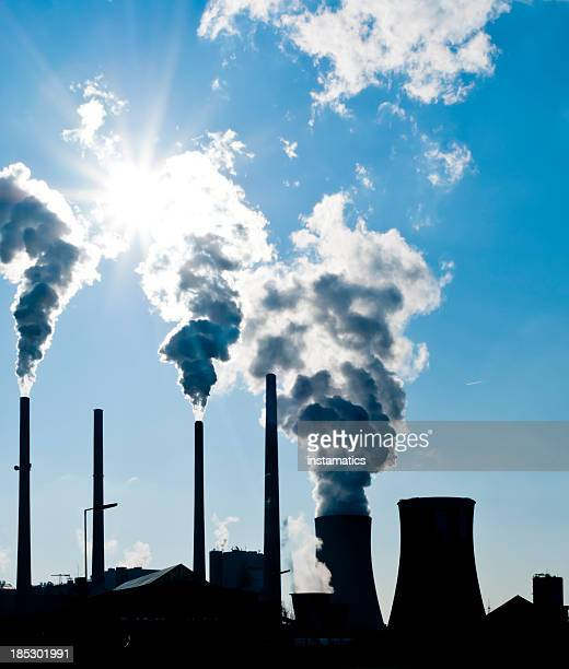 silhouette of a power plant - coal fired power station stock photos and pictures