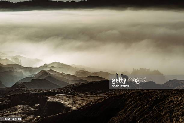 silhouette of a rider with his horse over misty volcanic mountain at bromo - shaifulzamri imagens e fotografias de stock
