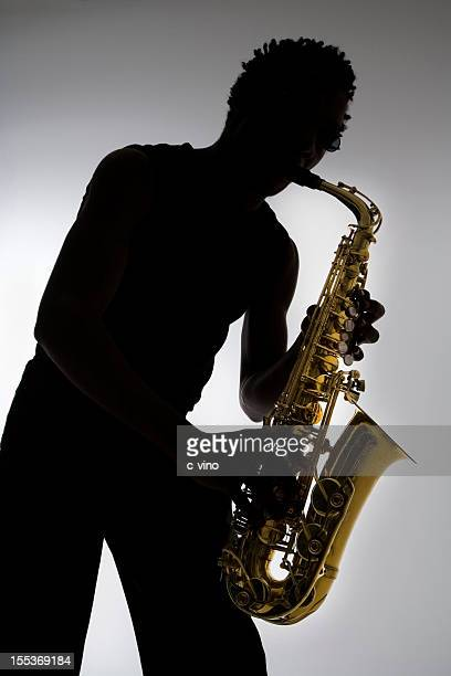 Silhouette eines Saxophonist