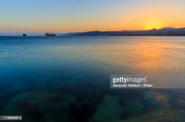 Silhouette Of A Ship In The Gulf Of Aqaba Of The Red Sea