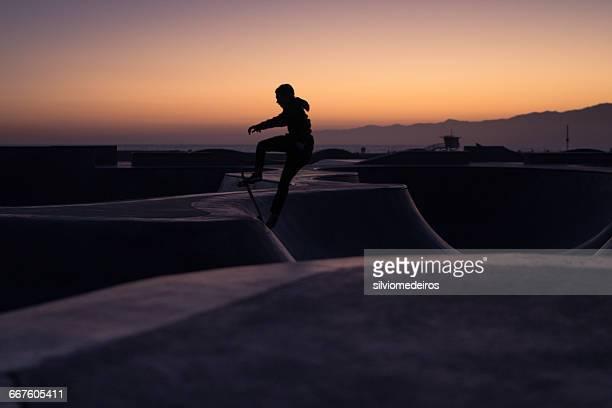 Silhouette of a skateboarder, Venice Beach, California, America, USA