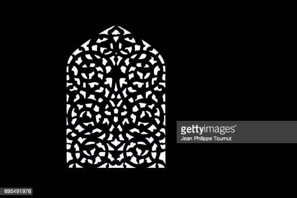 silhouette of a window, sheikh lotfollah mosque, isfahan, iran - iranian culture stock photos and pictures
