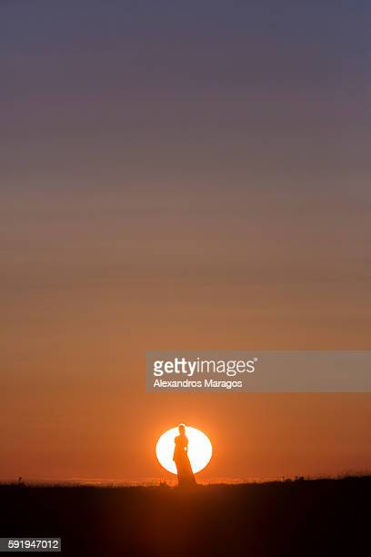 Silhouette of a woman in front of the Sun