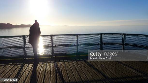 silhouette of a woman on the cevedon pier. - clevedon pier stock pictures, royalty-free photos & images