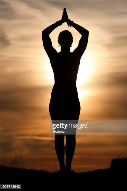 Silhouette of a woman practicing yoga against the light of the evening sun Tadasana the mountain pose French Alps France