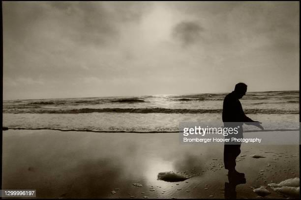 Silhouette of an unidentified man at Stinson Beach, Marin County, California, 1993.