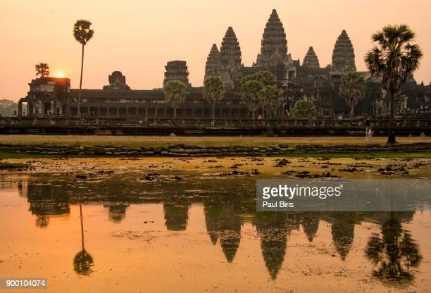 Silhouette of Angkor Wat at sunrise,  Siem Reap, Cambodia