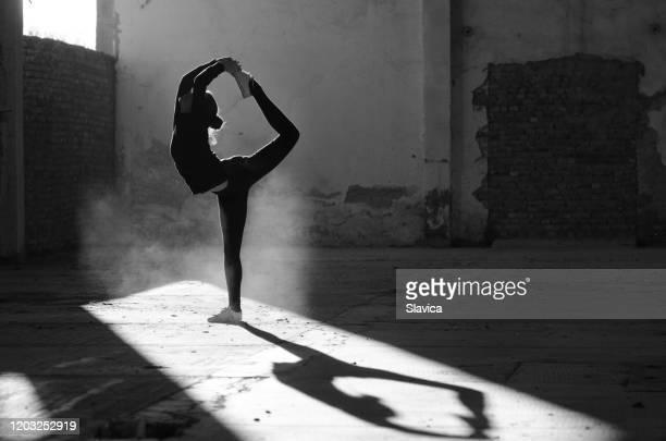 silhouette of ballerina dancing in abandoned building - silhueta de corpo feminino preto e branco imagens e fotografias de stock