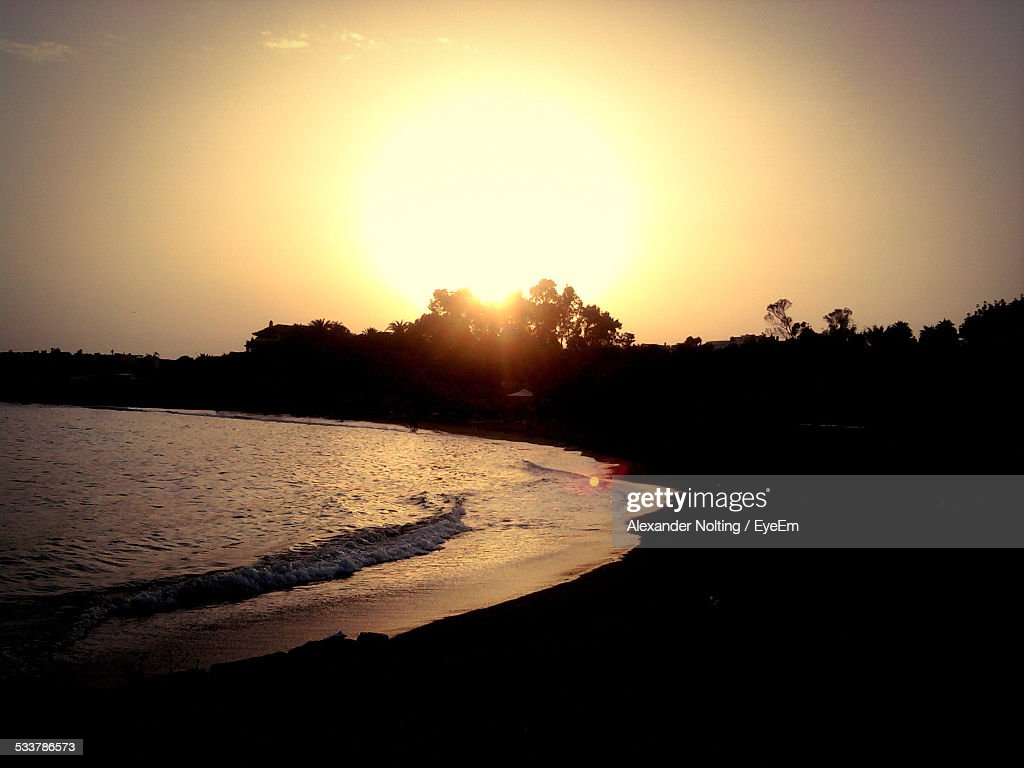 Silhouette Of Beach At Sunset : Foto stock