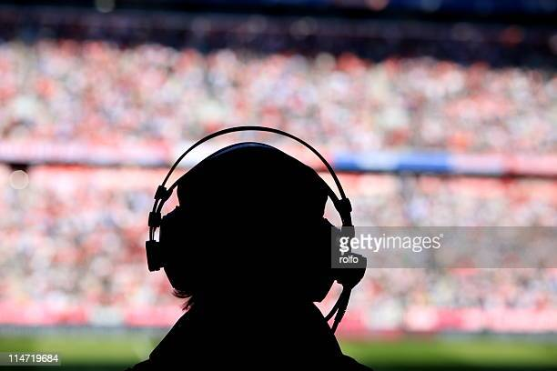 silhouette of broadcast presenter - commentator stock pictures, royalty-free photos & images