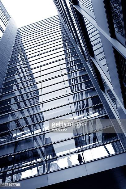 Silueta de mujer de negocios en un rascacielos
