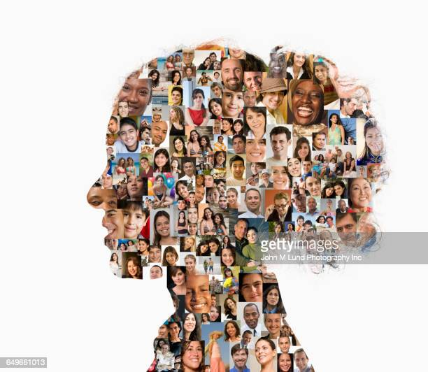 silhouette of businesswoman with collage of faces - 合成画像 ストックフォトと画像