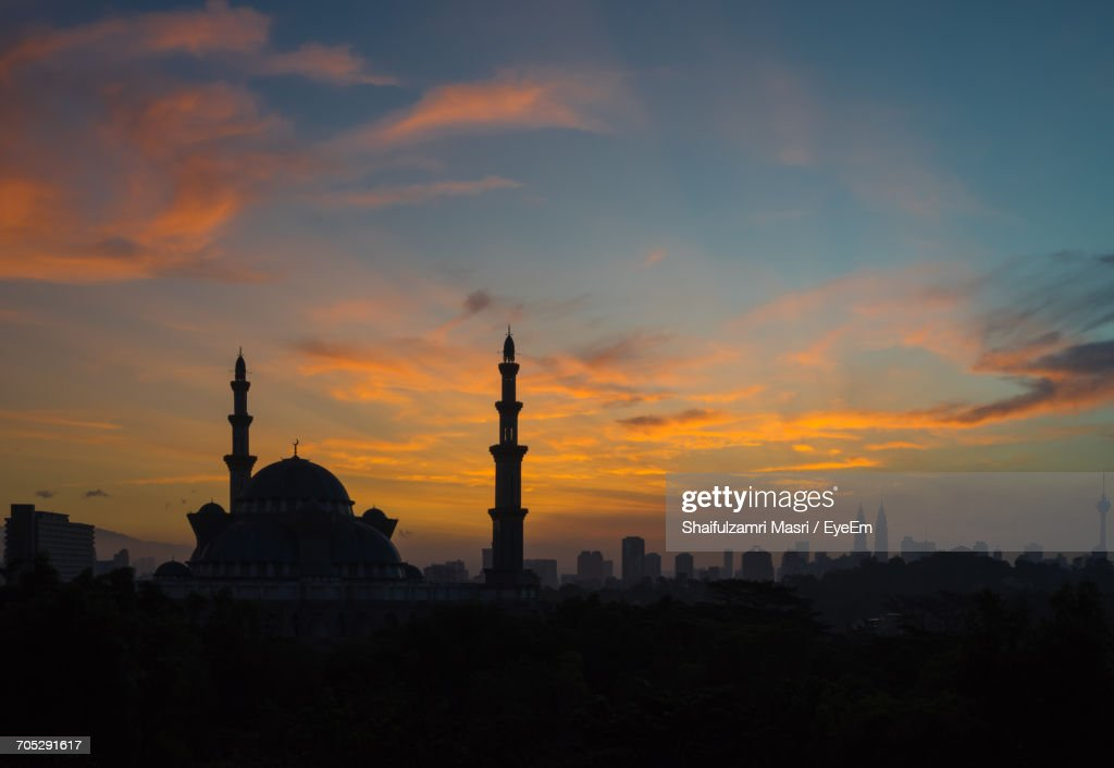 Silhouette Of City At Sunset : Stock Photo