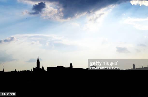 Silhouette of city in Budapest