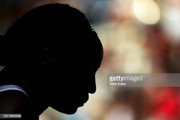 Silhouette of Coco Gauff of the United States during her Women's Singles fourth round match against Sofia Kenin of the United States on day seven of...
