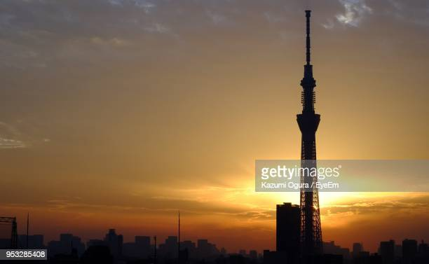 Silhouette Of Communications Tower At Sunset