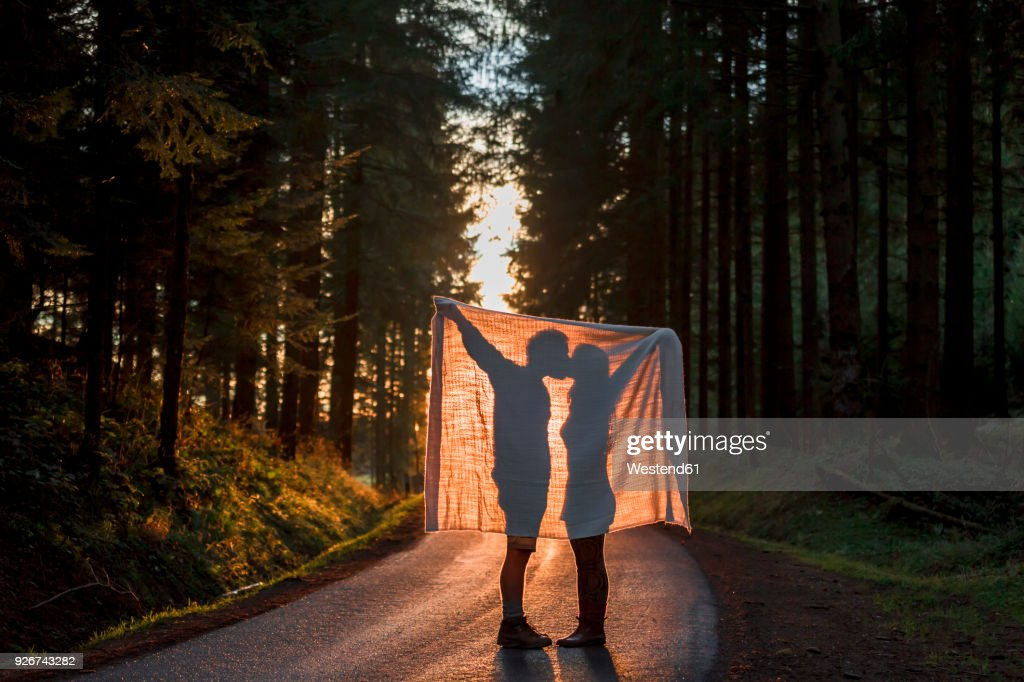 Silhouette of couple holding blanket kissing on country road in forest : Stock Photo