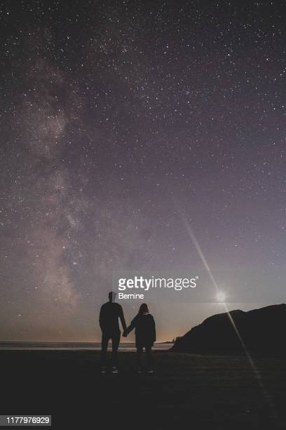silhouette of couple holding hands against starry sky - moonlight lovers stock-fotos und bilder