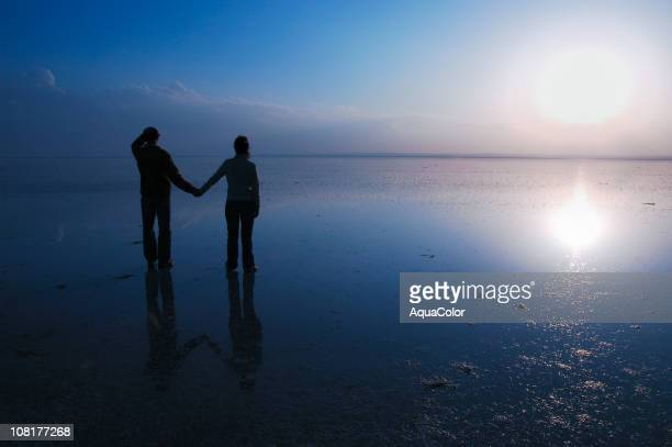silhouette of couple holding hands at lake during sunset