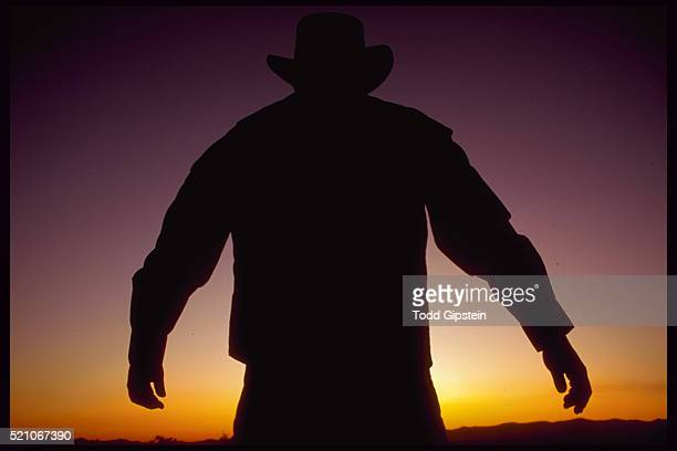 Silhouette of Cowboy at Sunset