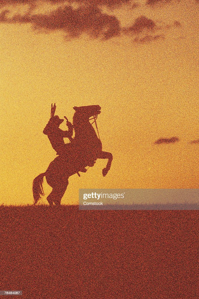 Silhouette of cowboy on horse : Stock Photo