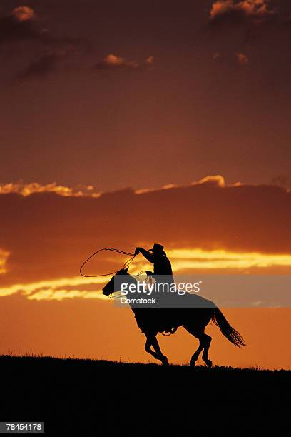 Silhouette of cowboy on horseback at sunset