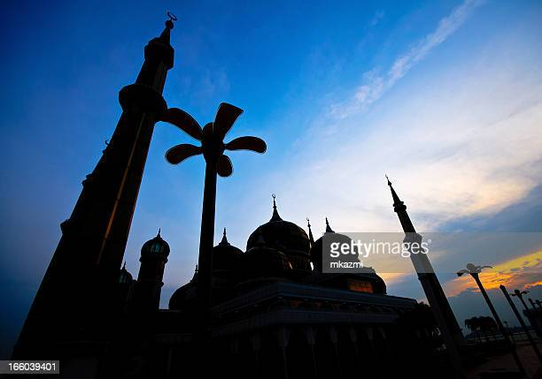 silhouette of crystal mosque - crystal mosque stock pictures, royalty-free photos & images